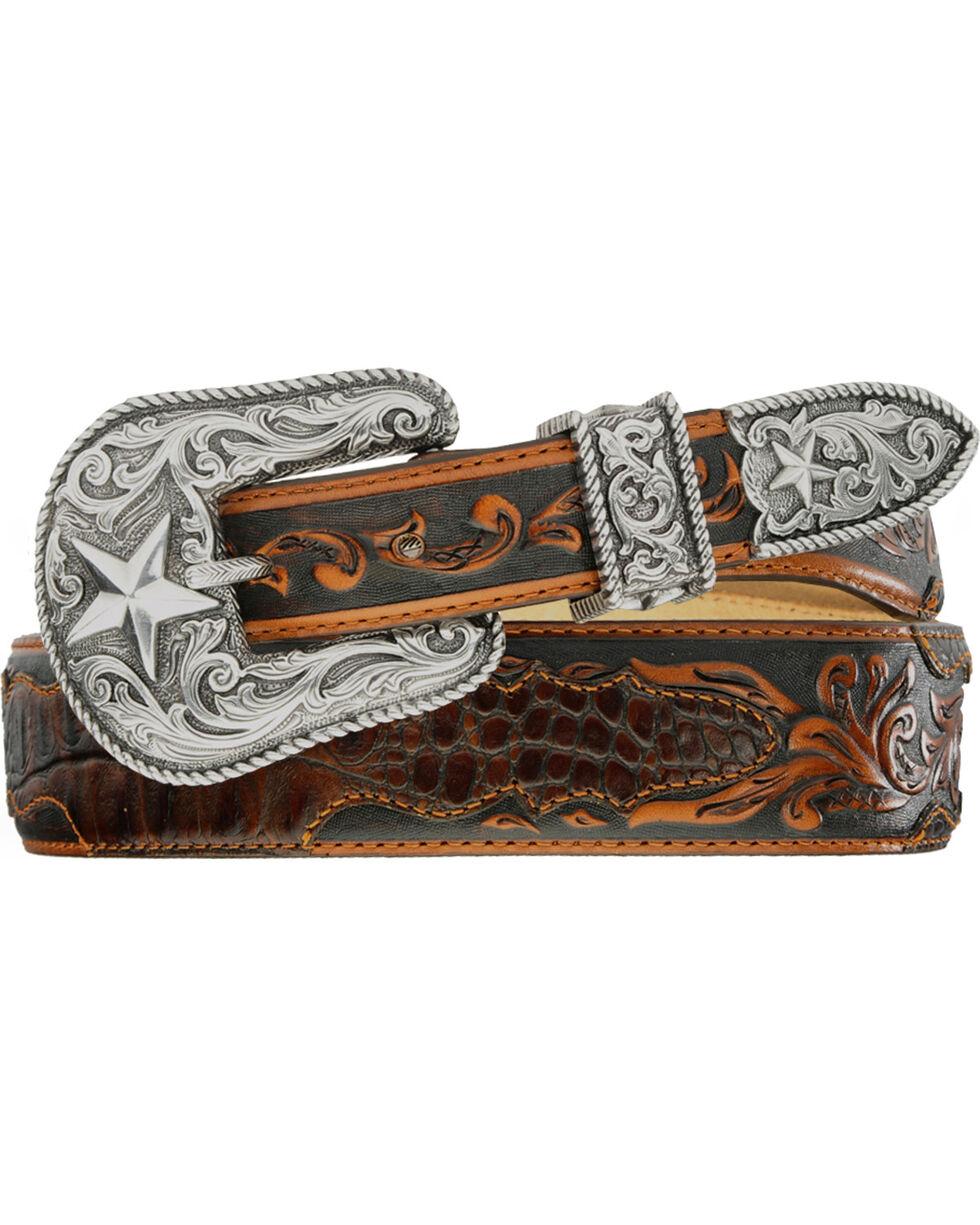 Tony Lama Beaumont Tapered Croc Print Leather Belt, Chocolate, hi-res
