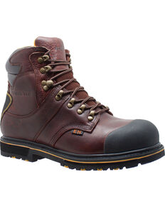 "Ad Tec Men's 6"" Dark Brown Leather EH Waterproof Work Boots - Steel Toe, Dark Brown, hi-res"