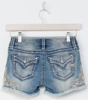 Miss Me Girls' Indigo Be A Lady Lace Detail Shorts , Indigo, hi-res