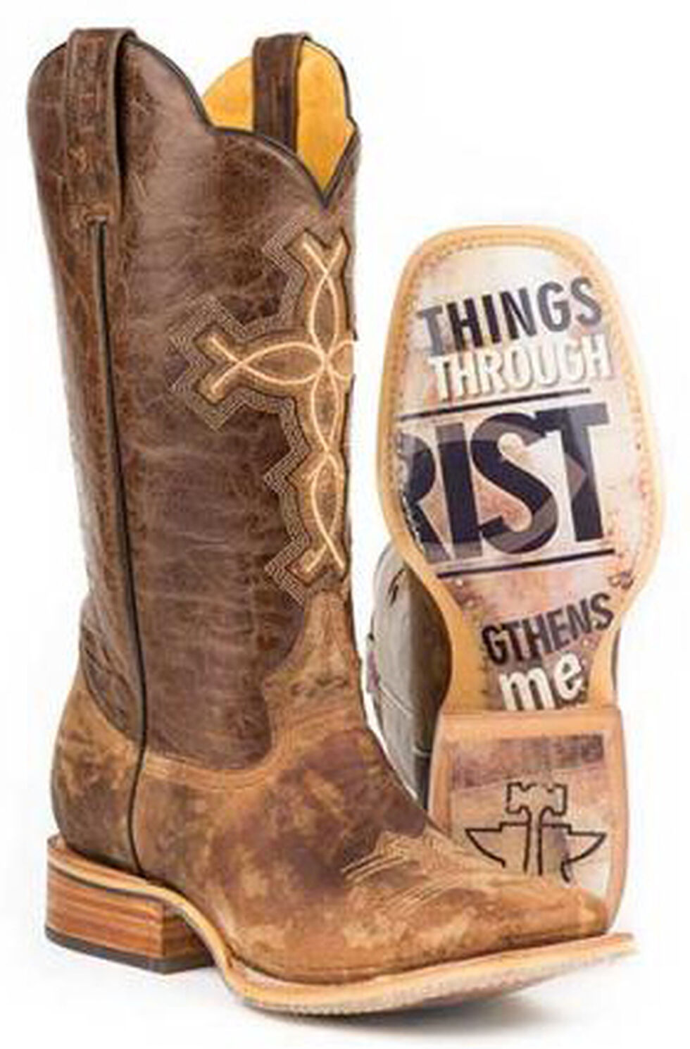 Tin Haul Ichthys Philippians 4:13 Cowboy Boots - Square Toe, Brown, hi-res
