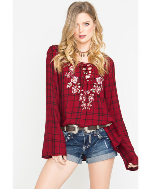 Shyanne Women's Plaid Lace-Up Long Sleeve Shirt, Dark Red, hi-res