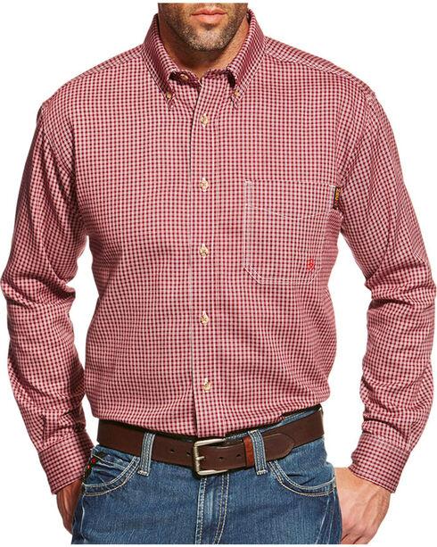 Ariat Flame Resistant Wine Plaid Work Shirt - Big & Tall, Wine, hi-res