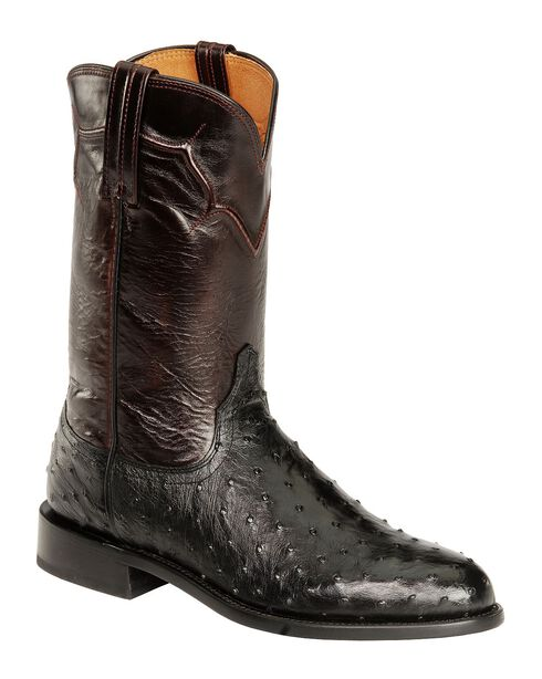 Lucchese Handcrafted Full Quill Ostrich Napoli Roper Cowboy Boots, Black, hi-res