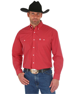 Wrangler George Strait Men's Red Print Long Sleeve Button Down Shirt, Red, hi-res