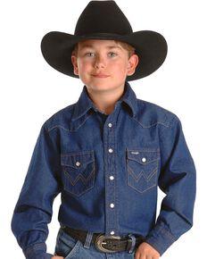 Wrangler Boys' Denim Western Shirt - 2-20, Denim, hi-res