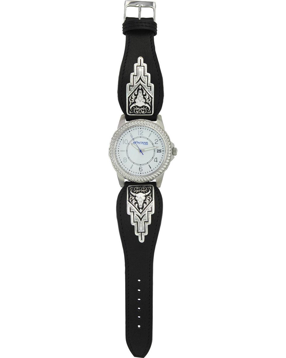 Montana Silversmiths Men's Silver Longhorn Skull Watch , Silver, hi-res