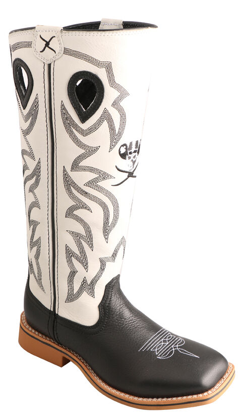 Twisted X Kid's Black and White Buckaroo Cowboy Boots - Square Toe, Black, hi-res