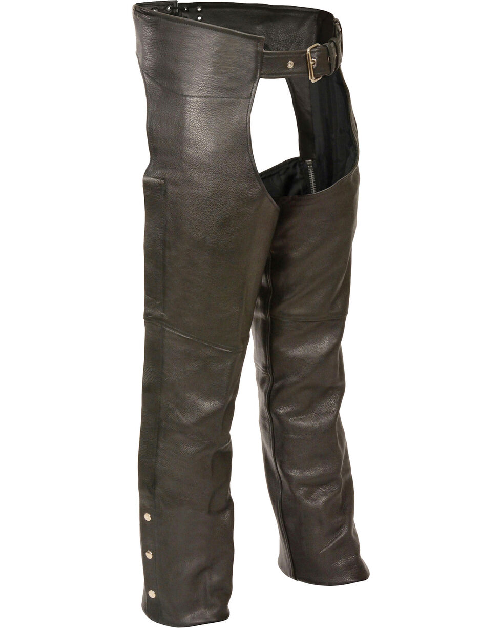 Milwaukee Leather Men's Fully Lined Naked Cowhide Chaps - 5X, Black, hi-res