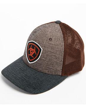Ariat Men's Shield Logo Patch Trucker Cap, Brown, hi-res