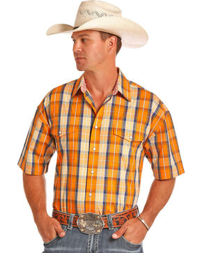 Panhandle Men's Orange Plaid Poplin Short Sleeve Shirt, Orange, hi-res