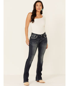 Grace in LA Women's Easy Aztec Embroidered Bootcut Jeans, Blue, hi-res