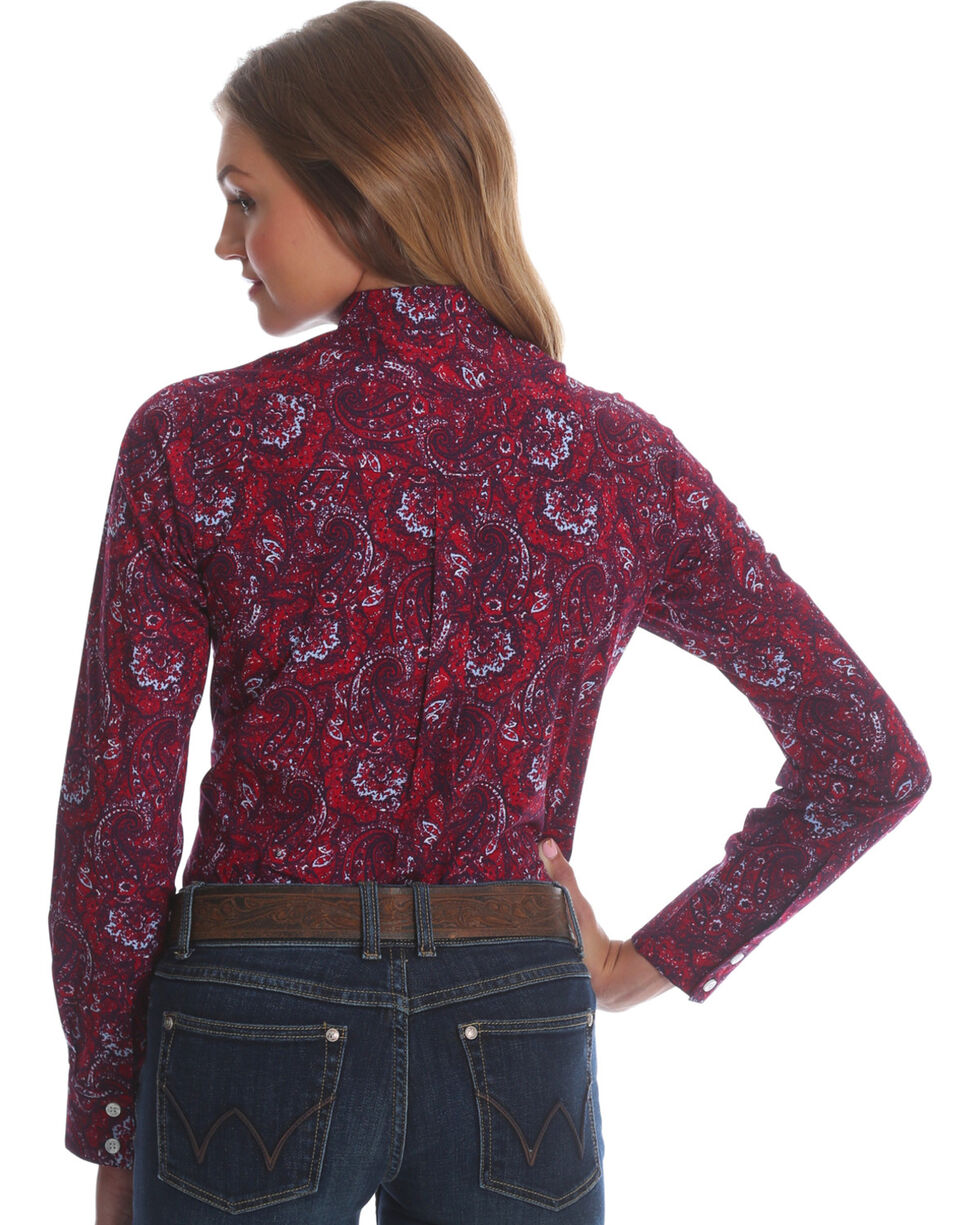 Wrangler Women's Red George Strait Paisley Print Shirt , , hi-res