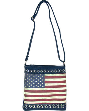 Savana Women's Blue American Flag Crossbody Bag , Blue, hi-res