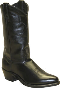 Abilene Polished Cowhide Boots - Medium Toe, Black, hi-res