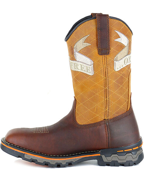 Timberland Men's Embroidered Waterproof Work Boots - Square Toe , Orange, hi-res