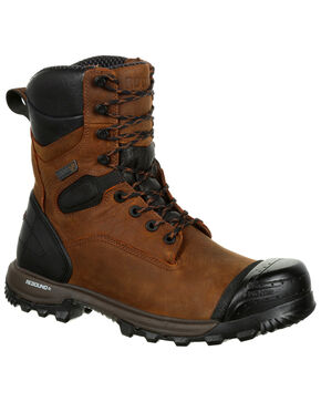 "Rocky Men's XO-Toe Waterproof 8"" Work Boots - Safety Toe, Brown, hi-res"