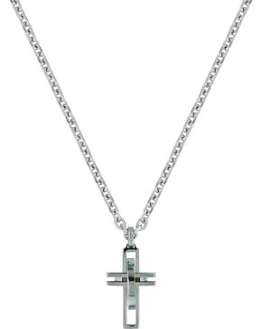 Montana Silversmiths Modern Art Cross Necklace , Silver, hi-res
