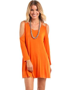 Panhandle Women's Orange Double Strap Cold Shoulder Dress, Orange, hi-res