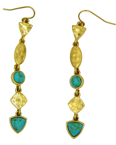 Silver Jeans Women's Turquoise Linear Earrings, Gold, hi-res