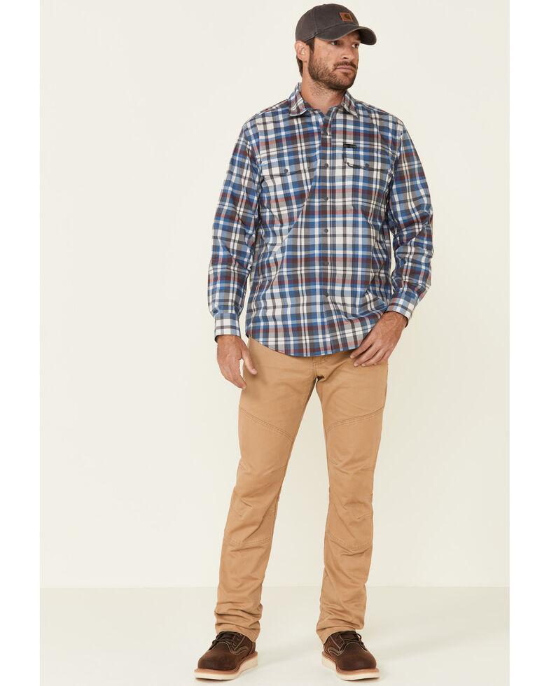 ATG™ by Wrangler All Terrain Men's Grey Plaid Pocket Utility Long Sleeve Western Flannel Shirt , Grey, hi-res