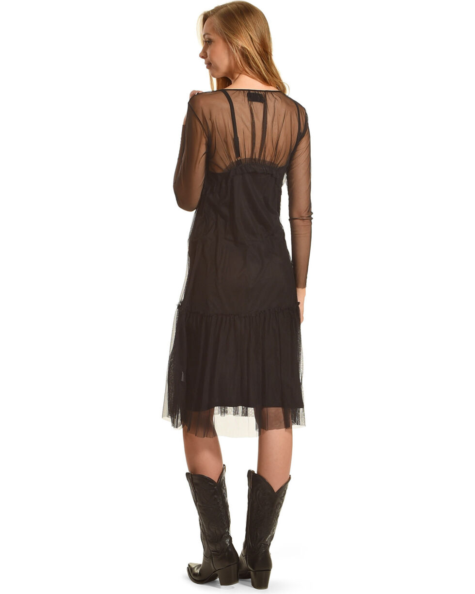 Johnny Was Women's Black Wressin Mesh Dress , Black, hi-res