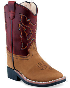 Old West Toddler Boys' Tan Western Boots - Wide Square Toe, Tan, hi-res