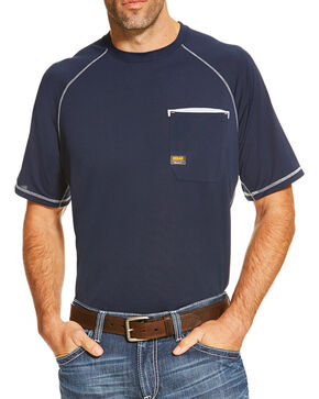 Ariat Men's Navy Rebar Sunstopper Short Sleeve Pocket Tee, Navy, hi-res