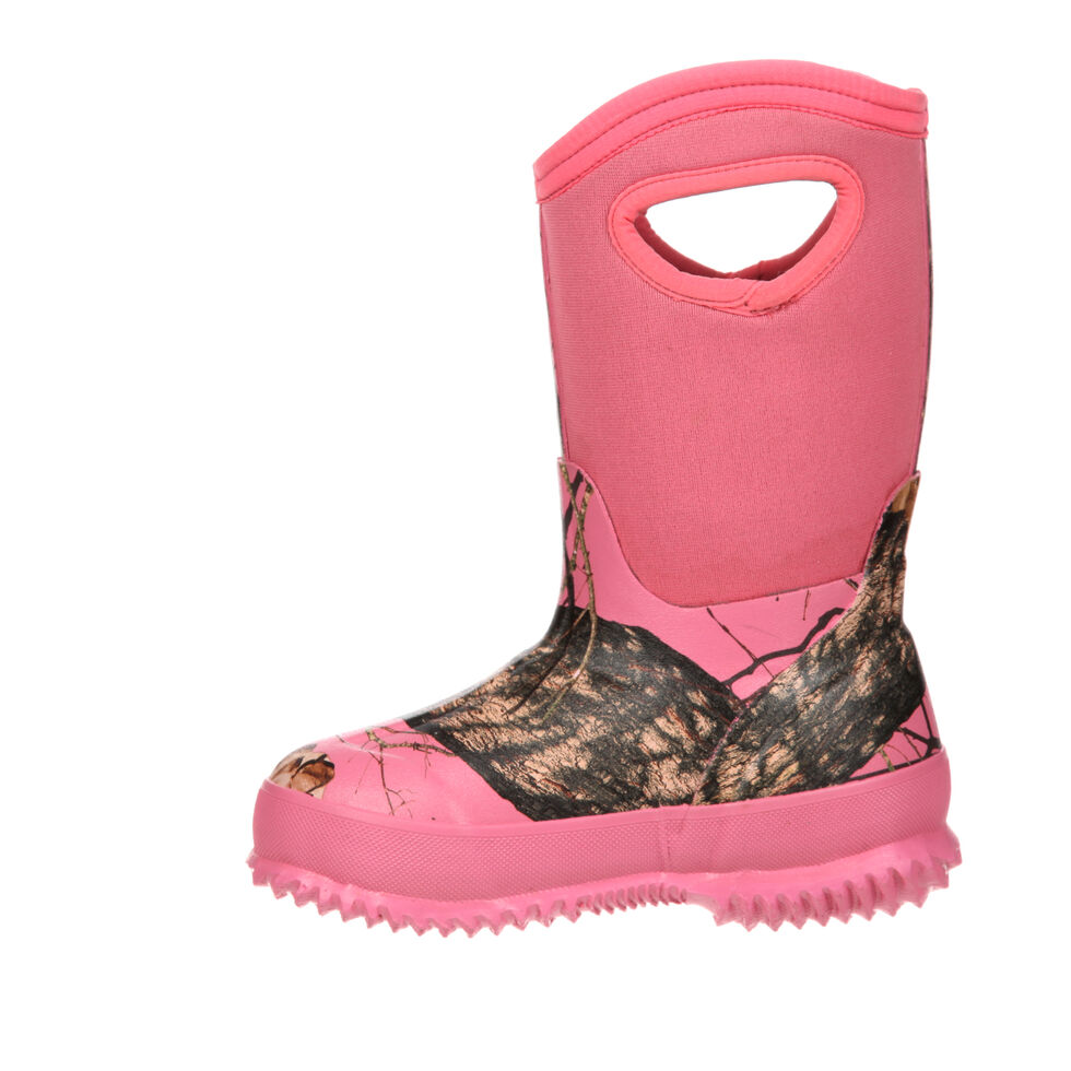 Rocky Youth Girls' Core Pink Camo Waterproof Insulated Rubber Boots, Camouflage, hi-res