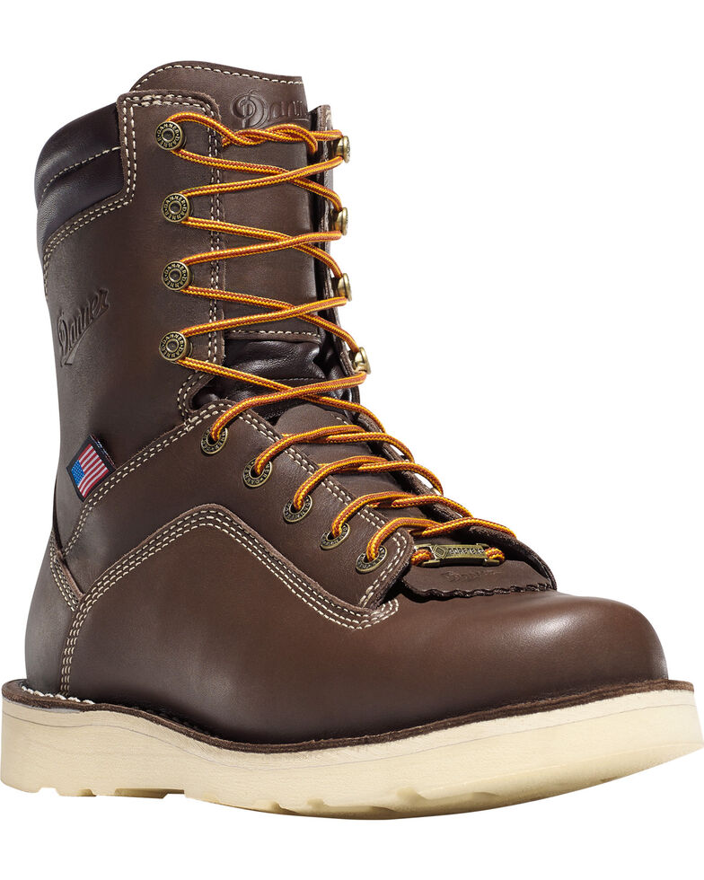 "Danner Men's Brown Quarry USA 8"" Wedge Work Boots - Soft Round Toe , , hi-res"