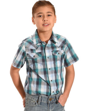 Cody James Boys' Shotgun Rider Plaid Short Sleeve Shirt, Blue, hi-res