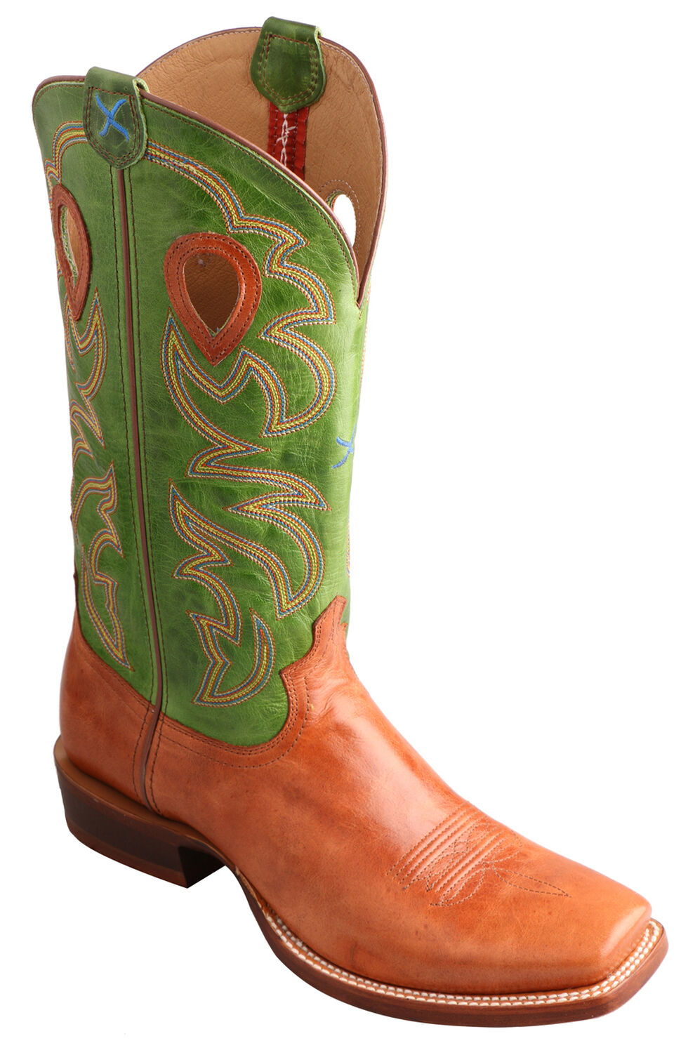 Twisted X Men's Ruff Stock Lime Cowboy Boots - Square Toe, Cognac, hi-res
