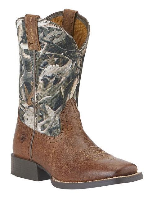 Ariat Boys' Quickdraw Camo Boots - Square Toe, Tan, hi-res