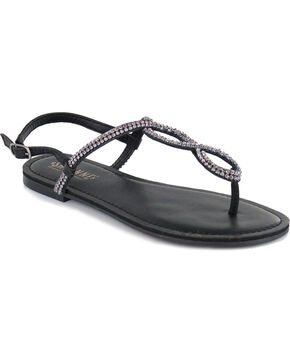 Shyanne Women's Bling Loop Sandal, Black, hi-res