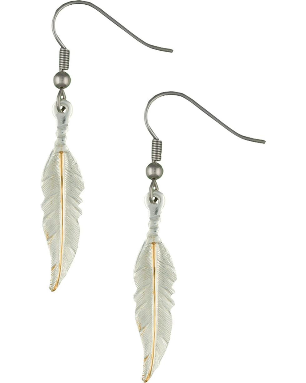 Montana Silversmiths Two-Tone Feather Dangle Earrings, Silver, hi-res
