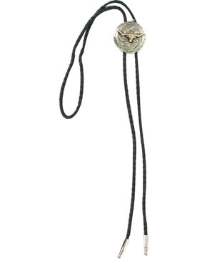 Cody James® Men's Steer Head Bolo Tie, Silver, hi-res