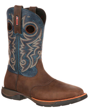 Rocky Men's LT Saddle Western Work Boots - Steel Toe, Brown/blue, hi-res