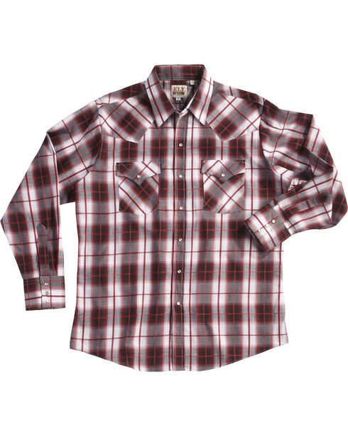 Ely Cattleman Men's Burgundy Textured Plaid Long Sleeve Snap Shirt, Red, hi-res