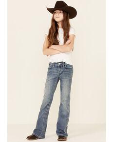 Grace In LA Girls' Medium Wash Tribal Aztec Pocket Embroidered Bootcut Jeans , Blue, hi-res