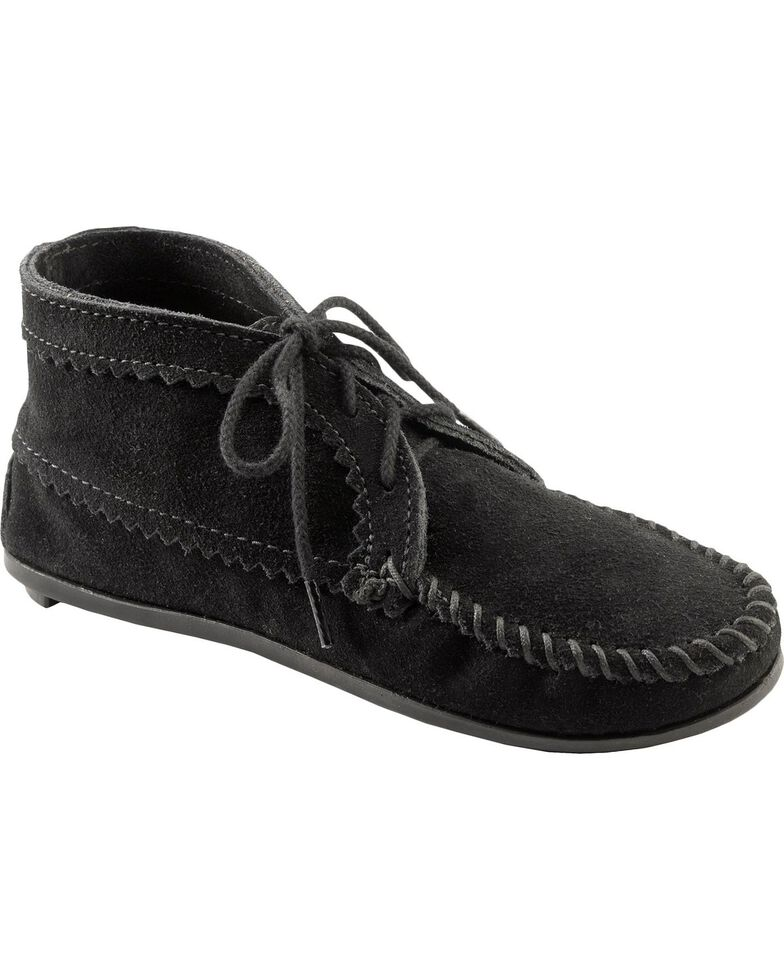Women's Minnetonka Suede Ankle Moccasin Boots, Black, hi-res