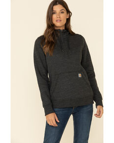 Carhartt Women's Black Clarksburg Half Zip Hooded Sweatshirt, Black, hi-res