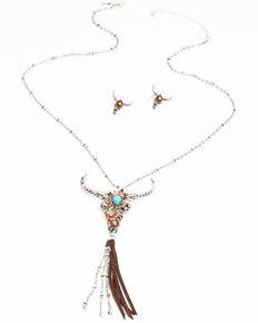 Shyanne Women's Hidden Treasure Tonal Longhorn Tassel Necklace Set, Silver, hi-res