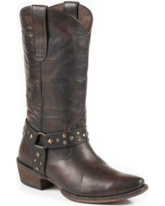 Roper Women's Studded Harness Cowgirl Boots - Snip Toe, Dark Brown, hi-res