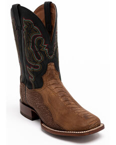 Dan Post Men's Bay Apache Ostrich Western Boots - Wide Square Toe, Brown, hi-res