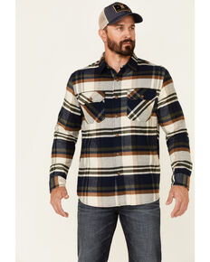Pendleton Men's Green Plaid Burnside Long Sleeve Button-Down Western Flannel Shirt , Green, hi-res