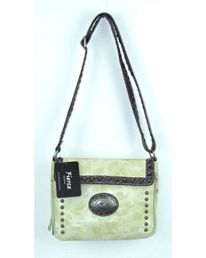 Savana Women's Fierce Conceal Carry Croco Trim Crossbody Purse , Ivory, hi-res
