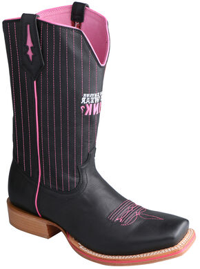 Twisted X Men's Tough Enough to Wear Pink Red River Western Boots - Square Toe, Black, hi-res