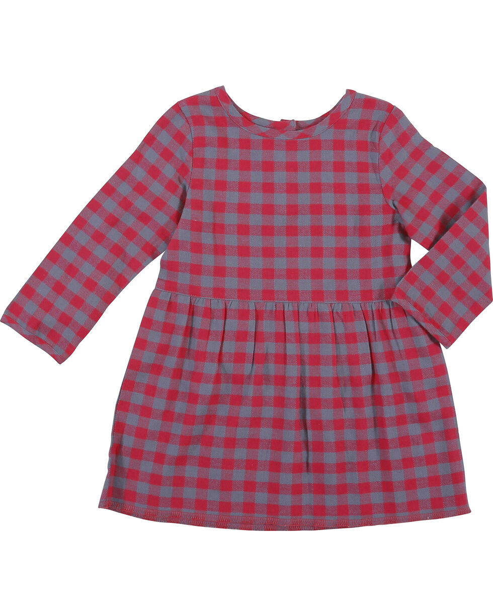 Wrangler Infant/Toddler Girls' Long Sleeve Plaid Dress , Pink, hi-res