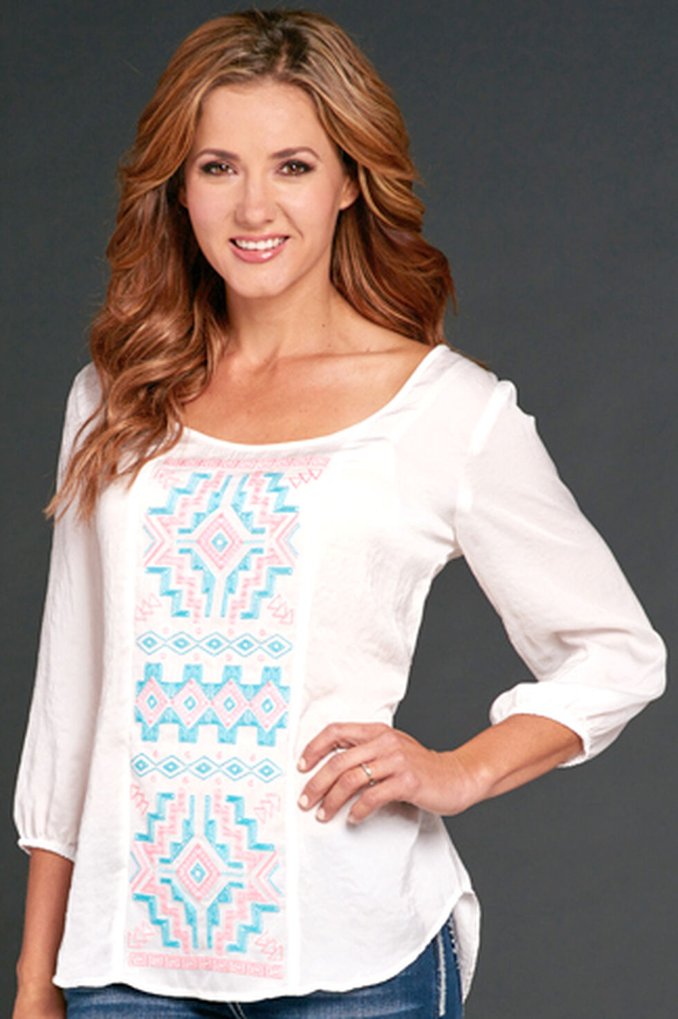 Cowgirl Up White Embroidered Blouse, White, hi-res