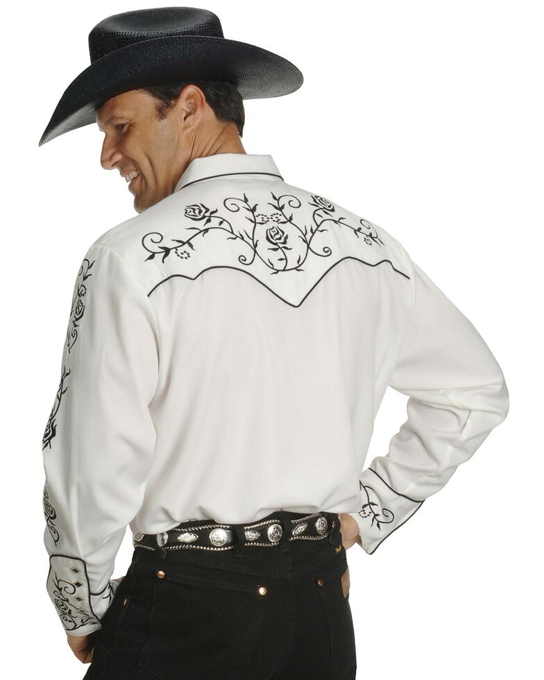 Scully Men's Floral Embroidered Vintage Long Sleeve Western Shirt - Big & Tall, White, hi-res