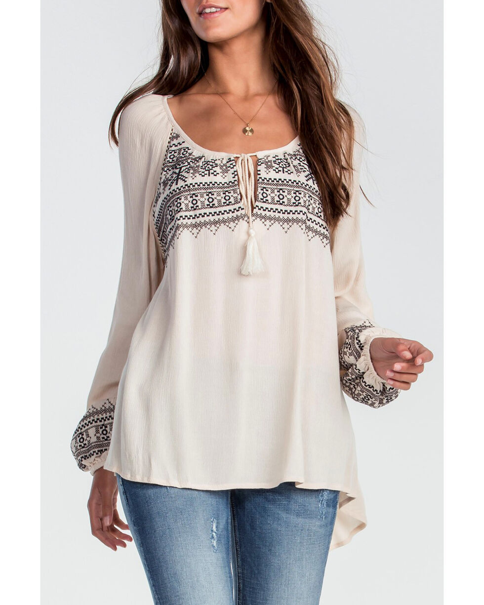 Miss Me Women's Taupe Long Sleeve Peasant Top, Taupe, hi-res